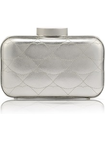 Silver Quilted Lips Patent Fifi Clutch - predominant colour: silver; occasions: evening, occasion; type of pattern: standard; style: clutch; length: hand carry; size: small; material: leather; embellishment: quilted; pattern: plain; trends: metallics; finish: metallic