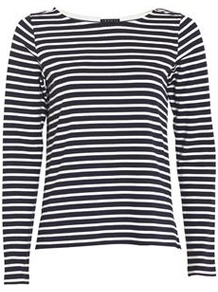 Nivanta Stripe Jersey In Navy - neckline: round neck; pattern: striped; style: t-shirt; predominant colour: navy; occasions: casual, work; length: standard; fibres: cotton - stretch; fit: straight cut; sleeve length: long sleeve; sleeve style: standard; pattern type: fabric; pattern size: standard; texture group: jersey - stretchy/drapey