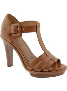 Roia T Strap Sandal - predominant colour: tan; occasions: casual, occasion, holiday; material: leather; heel height: high; ankle detail: ankle strap; heel: platform; toe: open toe/peeptoe; style: strappy; finish: plain; pattern: plain