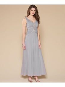 Ruth Maxi Dress - neckline: low v-neck; pattern: plain; sleeve style: sleeveless; style: maxi dress; bust detail: added detail/embellishment at bust; waist detail: fitted waist; back detail: low cut/open back; predominant colour: silver; occasions: evening, occasion; length: floor length; fit: fitted at waist &amp; bust; fibres: polyester/polyamide - 100%; hip detail: soft pleats at hip/draping at hip/flared at hip; shoulder detail: added shoulder detail; sleeve length: sleeveless; texture group: sheer fabrics/chiffon/organza etc.; trends: metallics; pattern type: fabric; pattern size: small &amp; light; embellishment: sequins