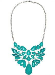 Dalia Necklace - predominant colour: emerald green; occasions: casual, evening, occasion, holiday; style: bib; length: mid; size: large/oversized; material: chain/metal; trends: fluorescent; finish: plain; embellishment: jewels