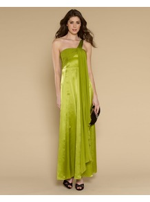 Hermera Maxi Dress - neckline: off the shoulder; sleeve style: capped; fit: empire; pattern: plain; style: maxi dress; waist detail: fitted waist; back detail: low cut/open back; bust detail: ruching/gathering/draping/layers/pintuck pleats at bust; predominant colour: lime; occasions: evening, occasion; length: floor length; fibres: silk - 100%; hip detail: soft pleats at hip/draping at hip/flared at hip; shoulder detail: asymmetric shoulder detail/one shoulder; sleeve length: sleeveless; texture group: structured shiny - satin/tafetta/silk etc.; pattern type: fabric