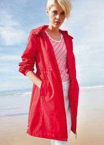 Summer Parka - pattern: plain; fit: loose; style: parka; back detail: hood; length: on the knee; collar: high neck; predominant colour: true red; occasions: casual; fibres: polyester/polyamide - 100%; sleeve length: long sleeve; sleeve style: standard; collar break: high; pattern type: fabric; texture group: other - light to midweight