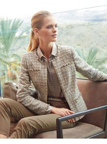 Versatile Jacket - style: single breasted blazer; bust detail: added detail/embellishment at bust; collar: high neck; pattern: herringbone/tweed; predominant colour: stone; occasions: casual, evening, work, occasion; length: standard; fit: tailored/fitted; fibres: cotton - mix; waist detail: fitted waist; sleeve length: long sleeve; sleeve style: standard; collar break: high; pattern type: fabric; pattern size: standard; texture group: woven light midweight