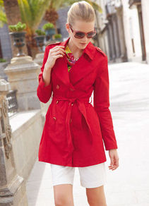 Trench Coat - pattern: plain; length: below the bottom; shoulder detail: obvious epaulette; style: mac; collar: standard lapel/rever collar; predominant colour: true red; occasions: casual, work; fit: tailored/fitted; fibres: polyester/polyamide - 100%; waist detail: belted waist/tie at waist/drawstring; sleeve length: long sleeve; sleeve style: standard; collar break: medium; pattern type: fabric; texture group: woven light midweight