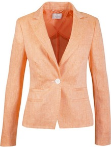 Linen Blazer - pattern: plain; style: single breasted blazer; collar: standard lapel/rever collar; predominant colour: coral; occasions: casual, evening, work, occasion; length: standard; fit: tailored/fitted; fibres: linen - 100%; waist detail: fitted waist; back detail: back vent/flap at back; sleeve length: long sleeve; sleeve style: standard; texture group: linen; collar break: medium; pattern type: fabric; pattern size: standard