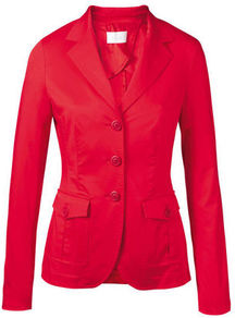 Cotton Blazer - pattern: plain; style: single breasted blazer; collar: standard lapel/rever collar; predominant colour: true red; occasions: casual, evening, work; length: standard; fit: tailored/fitted; fibres: cotton - stretch; waist detail: fitted waist; sleeve length: long sleeve; sleeve style: standard; texture group: cotton feel fabrics; collar break: medium; pattern type: fabric