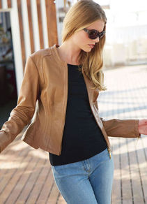 Leather Jacket - pattern: plain; style: biker; collar: standard biker; fit: slim fit; predominant colour: tan; occasions: casual; length: standard; fibres: leather - 100%; sleeve length: long sleeve; sleeve style: standard; texture group: leather; collar break: high/illusion of break when open; pattern type: fabric