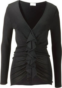 Cardigan - neckline: low v-neck; pattern: plain; length: below the bottom; predominant colour: black; occasions: casual, evening, work; style: standard; fibres: polyester/polyamide - 100%; fit: slim fit; hip detail: ruching/gathering at hip; waist detail: fitted waist; back detail: longer hem at back than at front; sleeve length: long sleeve; sleeve style: standard; texture group: jersey - clingy; trends: sculptural frills; bust detail: tiers/frills/bulky drapes/pleats; pattern type: knitted - fine stitch; pattern size: standard