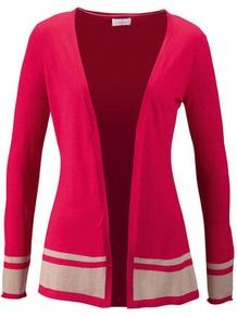 Summer Cardigan - length: below the bottom; neckline: collarless open; style: open front; predominant colour: hot pink; secondary colour: stone; occasions: casual, work; fibres: silk - mix; fit: standard fit; sleeve length: long sleeve; sleeve style: standard; texture group: knits/crochet; pattern type: knitted - fine stitch; pattern size: small & light; pattern: colourblock