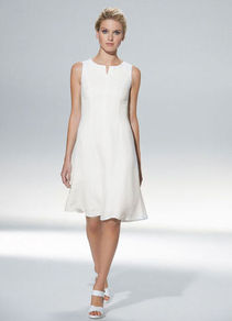 Linen Dress - neckline: v-neck; pattern: plain; sleeve style: sleeveless; waist detail: fitted waist; predominant colour: white; occasions: evening, occasion; length: on the knee; fit: fitted at waist &amp; bust; style: fit &amp; flare; fibres: linen - mix; sleeve length: sleeveless; texture group: linen; pattern type: fabric