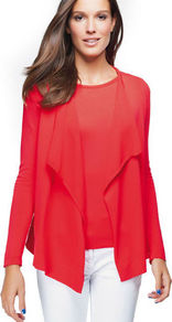 Cardigan - pattern: plain; neckline: waterfall neck; style: open front; predominant colour: coral; occasions: casual, work; length: standard; fit: standard fit; sleeve length: long sleeve; sleeve style: standard; texture group: knits/crochet; pattern type: knitted - fine stitch; fibres: viscose/rayon - mix