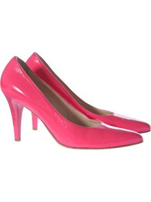 Heels - predominant colour: pink; occasions: evening, occasion; material: leather; heel height: high; heel: stiletto; toe: pointed toe; style: courts; trends: fluorescent; finish: patent; pattern: plain