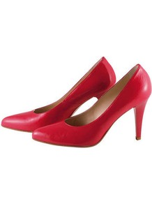 Heels - predominant colour: true red; occasions: evening, work, occasion; material: leather; heel height: high; heel: stiletto; toe: pointed toe; style: courts; finish: plain; pattern: plain