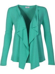 Cardigan - pattern: plain; neckline: waterfall neck; style: open front; predominant colour: mint green; occasions: casual, work; length: standard; fit: standard fit; sleeve length: long sleeve; sleeve style: standard; texture group: knits/crochet; pattern type: knitted - fine stitch; fibres: viscose/rayon - mix