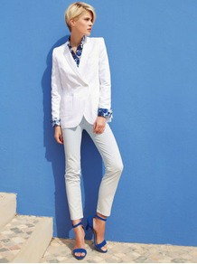 Blazer - pattern: plain; style: double breasted blazer; collar: standard lapel/rever collar; predominant colour: white; occasions: casual; length: standard; fit: tailored/fitted; sleeve length: long sleeve; sleeve style: standard; collar break: medium; pattern type: fabric; texture group: other - light to midweight; fibres: viscose/rayon - mix