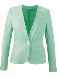 Linen Jacket - pattern: plain; style: single breasted blazer; collar: standard lapel/rever collar; predominant colour: mint green; length: standard; fit: tailored/fitted; fibres: linen - 100%; occasions: occasion; sleeve length: long sleeve; sleeve style: standard; texture group: linen; collar break: medium; pattern type: fabric