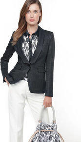 Viscose Blazer - pattern: plain; style: single breasted blazer; collar: shawl/waterfall; predominant colour: black; occasions: casual; length: standard; fit: tailored/fitted; fibres: viscose/rayon - 100%; sleeve length: long sleeve; sleeve style: standard; collar break: low/open; pattern type: fabric; pattern size: standard; texture group: woven light midweight