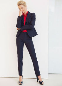 Blazer - pattern: plain; style: single breasted blazer; collar: standard lapel/rever collar; predominant colour: navy; occasions: work; length: standard; fit: tailored/fitted; fibres: polyester/polyamide - mix; back detail: back vent/flap at back; sleeve length: long sleeve; sleeve style: standard; collar break: low/open; pattern type: fabric; texture group: woven light midweight