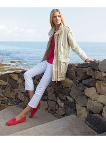 Summery Outdoor Jacket - pattern: plain; length: below the bottom; collar: funnel; style: single breasted; fit: slim fit; predominant colour: ivory; occasions: casual; fibres: cotton - mix; shoulder detail: discreet epaulette; sleeve length: long sleeve; sleeve style: standard; texture group: cotton feel fabrics; collar break: high/illusion of break when open; pattern type: fabric