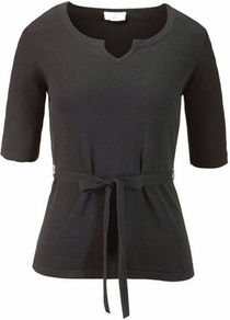 Summer Sweater - neckline: v-neck; pattern: plain; style: standard; predominant colour: black; occasions: casual, evening, work; length: standard; fibres: polyester/polyamide - stretch; fit: slim fit; waist detail: belted waist/tie at waist/drawstring; sleeve length: half sleeve; sleeve style: standard; texture group: knits/crochet; pattern type: knitted - fine stitch; pattern size: standard