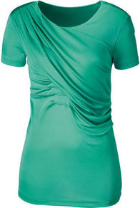 T Shirt - neckline: round neck; pattern: plain; style: t-shirt; bust detail: ruching/gathering/draping/layers/pintuck pleats at bust; predominant colour: emerald green; occasions: casual; length: standard; fibres: viscose/rayon - stretch; fit: body skimming; sleeve length: short sleeve; sleeve style: standard; pattern type: fabric; texture group: jersey - stretchy/drapey