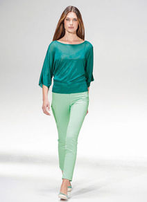 Summer Sweater - neckline: slash/boat neckline; pattern: plain; style: standard; predominant colour: teal; occasions: casual, evening, work, holiday; length: standard; fibres: viscose/rayon - 100%; fit: loose; sleeve length: 3/4 length; sleeve style: standard; texture group: knits/crochet; pattern type: knitted - fine stitch