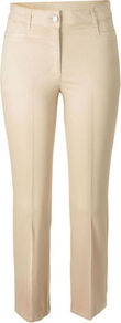 Cotton Trousers - length: standard; pattern: plain; waist: mid/regular rise; predominant colour: stone; occasions: casual, evening, work; fibres: cotton - stretch; texture group: cotton feel fabrics; fit: slim leg; pattern type: fabric; style: standard