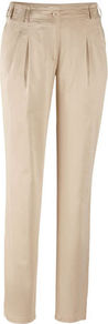 Cotton Trousers - length: standard; pattern: plain; waist: mid/regular rise; predominant colour: stone; occasions: casual, evening, work; fibres: cotton - stretch; hip detail: front pleats at hip level; texture group: crepes; fit: slim leg; pattern type: fabric; style: standard