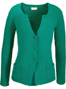 Cotton Cardigan - neckline: low v-neck; pattern: plain; predominant colour: emerald green; occasions: casual, work; length: standard; style: standard; fibres: cotton - 100%; fit: slim fit; sleeve length: long sleeve; sleeve style: standard; texture group: knits/crochet; pattern type: knitted - other
