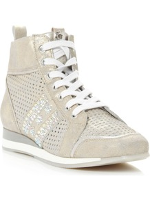 Luxurious Metallic Leather High Top Shoes, Silver - predominant colour: silver; occasions: casual; material: leather; heel height: flat; embellishment: crystals; heel: standard; toe: round toe; boot length: ankle boot; style: high top; trends: metallics; finish: metallic; pattern: plain