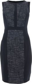 Navy Boucle Block Panel Pencil Dress - style: shift; neckline: round neck; fit: tailored/fitted; sleeve style: sleeveless; predominant colour: navy; occasions: evening, work; length: just above the knee; fibres: polyester/polyamide - 100%; sleeve length: sleeveless; trends: glamorous day shifts; pattern type: fabric; pattern size: standard; pattern: colourblock; texture group: tweed - light/midweight
