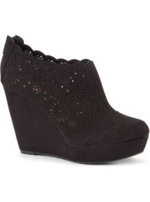 Black Cut Out Wedge Shoe Boots - predominant colour: black; occasions: casual, evening, work; material: faux leather; heel height: high; heel: wedge; toe: round toe; boot length: shoe boot; style: standard; finish: plain; pattern: plain