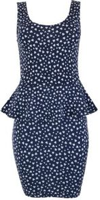 Navy Heart Print Peplum Sleeveless Dress - style: shift; length: mid thigh; sleeve style: sleeveless; back detail: low cut/open back; hip detail: fitted at hip; waist detail: peplum waist detail; predominant colour: navy; occasions: casual, evening, work; fit: body skimming; neckline: scoop; fibres: polyester/polyamide - 100%; sleeve length: sleeveless; texture group: jersey - clingy; trends: statement prints, sculptural frills; pattern type: fabric; pattern size: small & busy; pattern: patterned/print