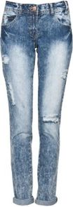 Blue Acid Wash Boyfriend Jeans - style: boyfriend; pattern: plain; pocket detail: traditional 5 pocket; waist: mid/regular rise; predominant colour: denim; occasions: casual; length: ankle length; fibres: cotton - 100%; jeans detail: shading down centre of thigh, washed/faded; jeans & bottoms detail: turn ups; texture group: denim; pattern type: fabric
