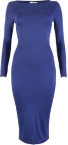 Blue 3/4 Sleeve Jersey Midi Dress - length: below the knee; neckline: slash/boat neckline; fit: tight; pattern: plain; style: bodycon; waist detail: fitted waist; hip detail: fitted at hip; predominant colour: royal blue; occasions: casual, evening, work; fibres: polyester/polyamide - stretch; sleeve length: long sleeve; sleeve style: standard; texture group: jersey - clingy; pattern type: fabric