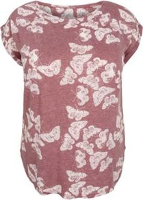 Inspire Plum Butterfly Print T Shirt - neckline: round neck; sleeve style: capped; style: t-shirt; predominant colour: magenta; occasions: casual; length: standard; fibres: cotton - 100%; fit: straight cut; sleeve length: short sleeve; pattern type: fabric; pattern size: standard; pattern: patterned/print; texture group: jersey - stretchy/drapey