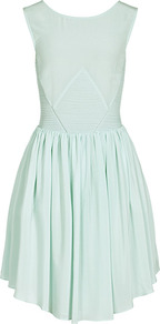 Kacie Panel Insert Dress - neckline: round neck; fit: fitted at waist; pattern: plain; sleeve style: sleeveless; back detail: low cut/open back; predominant colour: pistachio; occasions: casual, evening, work, occasion; length: just above the knee; style: fit & flare; fibres: silk - 100%; hip detail: structured pleats at hip; sleeve length: sleeveless; texture group: sheer fabrics/chiffon/organza etc.; trends: glamorous day shifts; pattern type: fabric; pattern size: standard