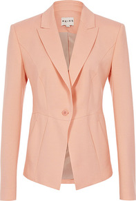 San Tor Seamed One Button Jacket - pattern: plain; style: single breasted blazer; hip detail: side pockets at hip; collar: standard lapel/rever collar; predominant colour: coral; occasions: casual, evening, work, occasion; length: standard; fit: tailored/fitted; fibres: wool - mix; waist detail: fitted waist; back detail: back vent/flap at back; sleeve length: long sleeve; sleeve style: standard; texture group: crepes; collar break: medium; pattern type: fabric