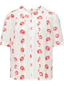 Lillyann Poppy Print Top - bust detail: ruching/gathering/draping/layers/pintuck pleats at bust; predominant colour: ivory; occasions: casual, work, holiday; length: standard; style: top; fibres: silk - 100%; fit: loose; neckline: no opening/shirt collar/peter pan; sleeve length: short sleeve; sleeve style: standard; texture group: crepes; pattern type: fabric; pattern size: small & light; pattern: florals