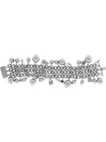 Elia Chunky Charm Bracelet - predominant colour: silver; occasions: casual, evening, work, occasion; style: charm; size: large/oversized; material: chain/metal; trends: metallics; finish: metallic; embellishment: chain/metal