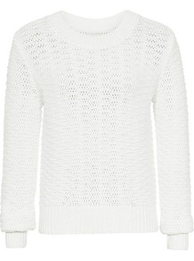 Jojo Textured Jumper - neckline: round neck; pattern: plain; style: standard; predominant colour: white; occasions: casual, work; length: standard; fibres: cotton - mix; fit: standard fit; sleeve length: long sleeve; sleeve style: standard; texture group: knits/crochet; pattern type: knitted - big stitch; pattern size: standard