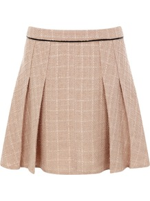 Tweed Cosmetic Skirt - length: mid thigh; fit: loose/voluminous; style: pleated; waist detail: fitted waist; waist: high rise; pattern: herringbone/tweed; predominant colour: nude; occasions: casual, evening, work; fibres: polyester/polyamide - mix; hip detail: structured pleats at hip; pattern type: fabric; pattern size: standard; texture group: tweed - light/midweight