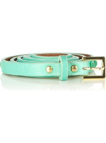 Pyramid Stud Jeans Belt - predominant colour: turquoise; occasions: casual, evening, work, occasion, holiday; type of pattern: standard; style: classic; size: skinny; worn on: waist; material: faux leather; pattern: plain; trends: fluorescent; finish: plain