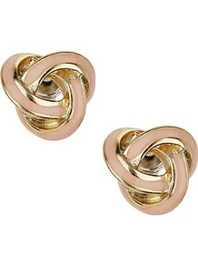 Knot Stud Earrings - predominant colour: gold; occasions: casual, evening, work, occasion; style: stud; length: short; size: standard; material: chain/metal; fastening: pierced; finish: metallic