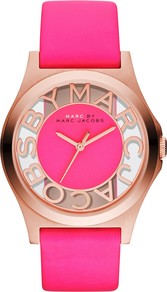 Women's Henry Skeleton Dial Watch - predominant colour: hot pink; occasions: casual, evening, work; style: boyfriend; size: standard; material: leather; trends: fluorescent; finish: plain; pattern: plain; embellishment: chain/metal