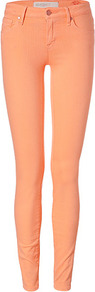 Apricot Cotton Gaia Super Skinny Jeans - style: skinny leg; length: standard; pattern: plain; pocket detail: traditional 5 pocket; waist: mid/regular rise; predominant colour: bright orange; occasions: casual; fibres: cotton - stretch; texture group: denim; pattern type: fabric