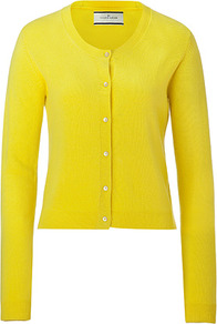 Neon Yellow Moulda Cashmere Cardigan - neckline: round neck; bust detail: buttons at bust (in middle at breastbone)/zip detail at bust; predominant colour: yellow; occasions: casual, work; length: standard; style: standard; fit: slim fit; fibres: cashmere - 100%; sleeve length: long sleeve; sleeve style: standard; texture group: knits/crochet; trends: fluorescent; pattern type: knitted - fine stitch