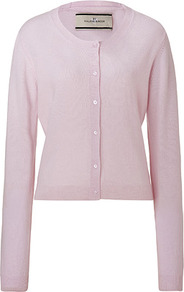 Soft Rose Moulda Cashmere Cardigan - neckline: round neck; bust detail: buttons at bust (in middle at breastbone)/zip detail at bust; predominant colour: blush; occasions: casual, work; length: standard; style: standard; fit: standard fit; fibres: cashmere - 100%; sleeve length: long sleeve; sleeve style: standard; texture group: knits/crochet; pattern type: knitted - fine stitch