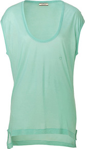 Light Mint Tyrwa T Shirt - pattern: plain; style: t-shirt; hip detail: fitted at hip; predominant colour: pistachio; occasions: casual; length: standard; neckline: scoop; fibres: polyester/polyamide - 100%; fit: loose; back detail: longer hem at back than at front; sleeve length: short sleeve; sleeve style: standard; pattern type: fabric; texture group: jersey - stretchy/drapey